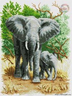 "Картина ""Семейство слонов"". Вышивка крестиком 889 (525x700, 430Kb)"
