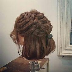 ヘアアレンジ Short Hairstyles For Thick Hair, Dread Hairstyles, Braided Hairstyles Updo, Natural Hair Styles, Short Hair Styles, Shoulder Length Hair, Hair Designs, Hair Goals, Hair Inspiration