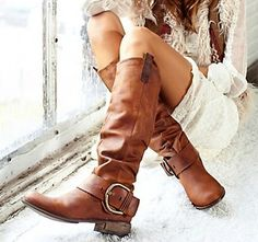 Cognac leather boots.