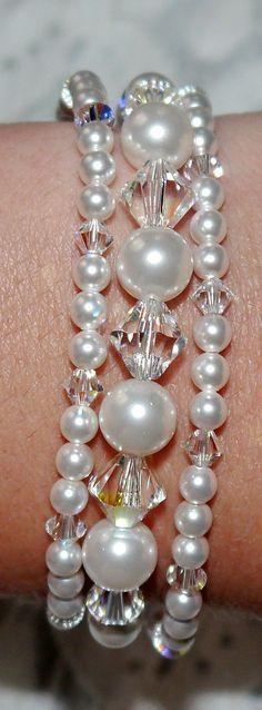 3 Strand Swarovski crystal and pearl bracelet