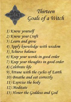 13 Goals of a Witch