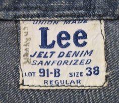 Vintage 1950s Lee 91-B Denim Jean Jacket Label by wearitsatvintage, via Flickr