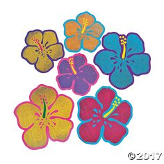 If you think you've run out of beach party ideas then look no further than these Glitter Hibiscus Cutouts. They are just the Luau and Hawaiian party ...