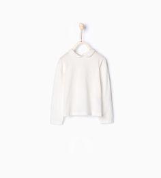 Image 1 of Organic cotton T-shirt with Peter Pan collar from Zara