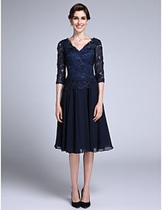 LAN TING BRIDE Sheath / Column Mother of the Bride Dress - Elegant Knee-length Half Sleeve Chiffon Lace with Lace – AUD $ 521.45