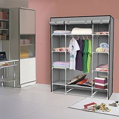 #PFT-16111#M14Specifications:Product dimension: 53.37' x 18.11' x 66.93'/135.5cm x 46cm x 170cm(L x W x H)Color:GreyFeatures:Keep your home neat and organized.Adding more space for your clothes and ...
