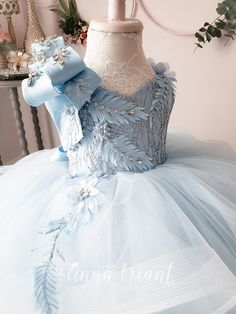 Elegance Powder Blue Gown by Anna Triant Couture Little Girl Gowns, Gowns For Girls, Girls Dresses, 15 Dresses, Princess Dress Kids, Princess Outfits, Girl Outfits, African Dresses For Kids, Latest African Fashion Dresses
