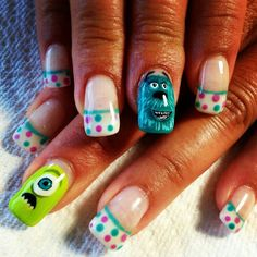 Omg super cute monsters inc inspired nails