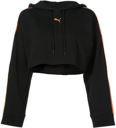 Black cotton logo cropped hoodie from Fenty X Puma featuring a hood, long  sleeves and a cropped length. 76b6ef83a92