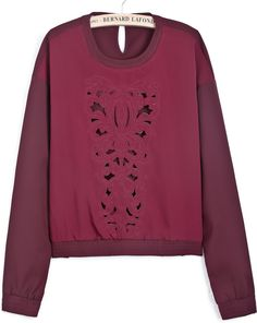 Wine Red Long Sleeve Hollow Crop Chiffon Blouse 0.00