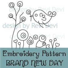 This embroidery pattern features flying birds and flowers.    This pattern is great for embellishing tote bag, book cover, pillowcase, tea towel, and
