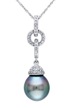 10K White Gold 9-9.5mm Black Tahitian Pearl & Pave Diamond Chain Link Pendant Necklace