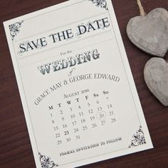 Sarah Alexis Stationery: Vintage Script Sate the Date Postcard in Black and Cream