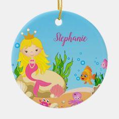 Under the Sea Cute Blonde Mermaid Custom Name Ceramic Ornament 4 Kids, Kids Girls, Mermaid Home Decor, Mermaid Ornament, Kids House, Sea Creatures, Under The Sea, White Porcelain, The Little Mermaid
