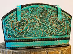 Rawhide | Purse Floral Leather Turquoise