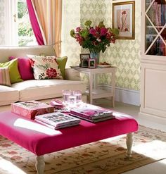 Touches of hot pink and lime green.  Pretty!