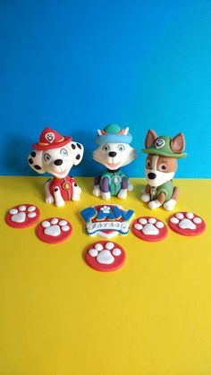 Paw patrol edible cake toppers, Marshall, Everest, Tracker with paw prints, badge and bones by caketoppersbymaris on Etsy