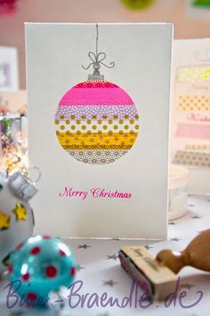 Just love this super cute idea for Washi tape Christmas cards ...