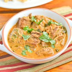 This slow cooker Thai red curry beef recipe is cooked in the crockpot slowly for 7 hours with coconut milk. The meat turned out incredibly tender.