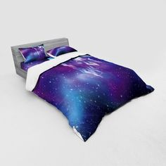 East Urban Home Fantasy Psychedelic Northern Starry Sky with Spirit Of A Wolf Aurora Borealis Display Duvet Cover Set Size: