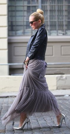 tulle and leather