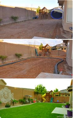 {It's about time!} - Home Decor On A Budget - Backyard design REVEAL! {It's about time!} I love this backyard! Backyard Arizona, Desert Landscaping Backyard, Big Backyard, Concrete Patios, Backyard Playset, Backyard Renovations, Backyard Makeover, Backyard Projects, Landscape Design