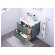 Meuble couleur, lavabo rond avec place pour savon + brosse à dent