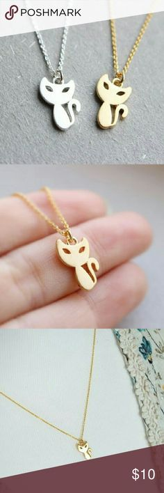 Gold plated cat necklace $10 on each necklace, choose which color,  bundle deal: pick any additional jewelry on my list for just $5 more, let me know so I can set up a bundle of $15! Jewelry Necklaces