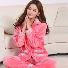 0638790633 Women flannel pajamas thick female cartoon lovely coral fleece Pajama set  in autumn and winter clothing