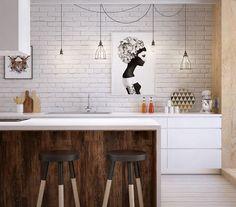 Interessante braune Barhocker vor der Kücheninsel mit Holzfront und weißer Oberfläche