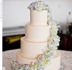 White Wedding Cake with Hydrangeas- I like the hydrangeas coming down like that