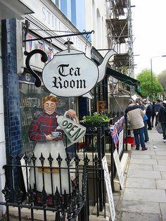 Tea Room Portobello Road Market in the Notting Hill neighborhood of London by Jasperdo London Calling, Notting Hill, Wale, Antique Market, Shop Fronts, Portobello, Shop Signs, Pub Signs, Tea Time