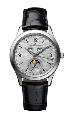 The most important timepiece takeaways from the annual Salon International de la Haute Horlogerie in Switzerland: Master Calendar with meteorite dial, JAEGER-LECOULTRE. Fine Watches, Cool Watches, Watches For Men, Wrist Watches, Men's Watches, Moonphase Watch, Jaeger Lecoultre Watches, Bracelet Cuir, Mechanical Watch