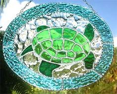 Green Sea Turtle Stained Glass Suncatcher  #Glass  #StainedGlass  #SunCatcher   by StainedGlassDelight, $39.95