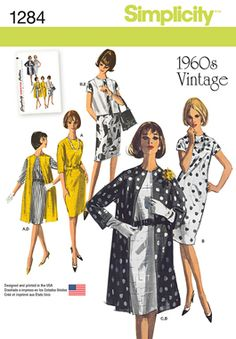 Simplicity Creative Group 1284 - Misses' Vintage 1960s Dress, Coat & Vest in Two Lengths