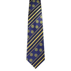 6892fb849 Russell-Hampton Co. Rotary Club Supplies: Navy/Gold Stripe Woven Polyester  Necktie