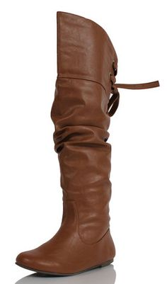 Women's Tan Slouchy Leather Over the Knee Flat Boots Letta $41.99 #sexy #boots #fall #fashion