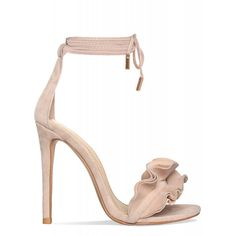 Savana Nude Suede Lace Up Ruffle Heels : Simmi Shoes ($42) ❤ liked on Polyvore featuring shoes, pumps, nude court shoes, laced up shoes, lace up shoes, lace up pumps and nude footwear
