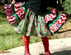 Rudolph and Clarice Christmas Ruffle Skirt Rudolph by SewShellz, $35.00