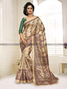 Beige N Green Khadi Silk Classy Casual Saree