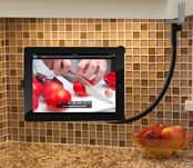 The hover bar...attaches to your ipad and then quickly and easily clamps on to cupboards, desks, tables...display a recipe while you cook or take it on a car trip and mount it on the headrest for back seat movies.