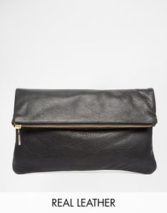 Whistles | Whistles Leather Fold Over Zip Clutch Bag in Black at ASOS