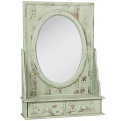 Timber Mirror with a Two handy Key Drawers - Rustic Green