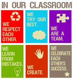 En nuestra clase... valores.  Carteles para el aula en inglés.