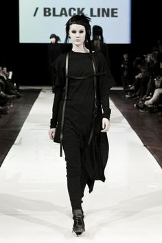 Goth on the runway. Love the black harness. I think those that follow the ninja/street goth style would appreciate this look as well