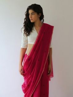 Crimson Mogra Chanderi & Zari Saree By Raw Mango