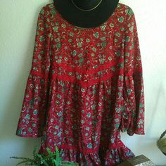 Red Boho Flare Sleeve Dress