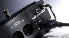 MIDI and USB sockets on a guitar pedal controller