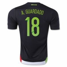 d5e5eef35 2015 Mexico Soccer Team A.Guardado  18 Home Black Jersey  B20  Soccer