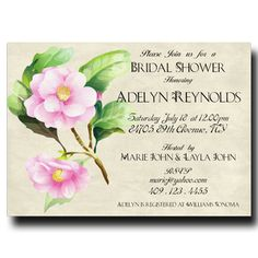 Bridal Shower Invitation with a Pink Flower, 4x6 or 5x7 Printable invitation (7)